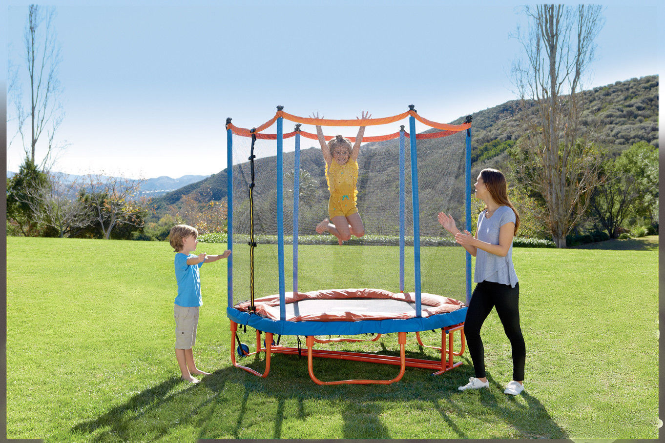 Primary image for Little Tikes EASY STORE 7-FOOT FOLDING PADDED ENCLOSED TRAMPOLINE Outdoor PLAY