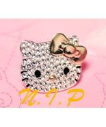 HELLO KITTY Rhinestone Gold Bow Large Head Bling Bling Goth Punk Hot Top... - $65.00