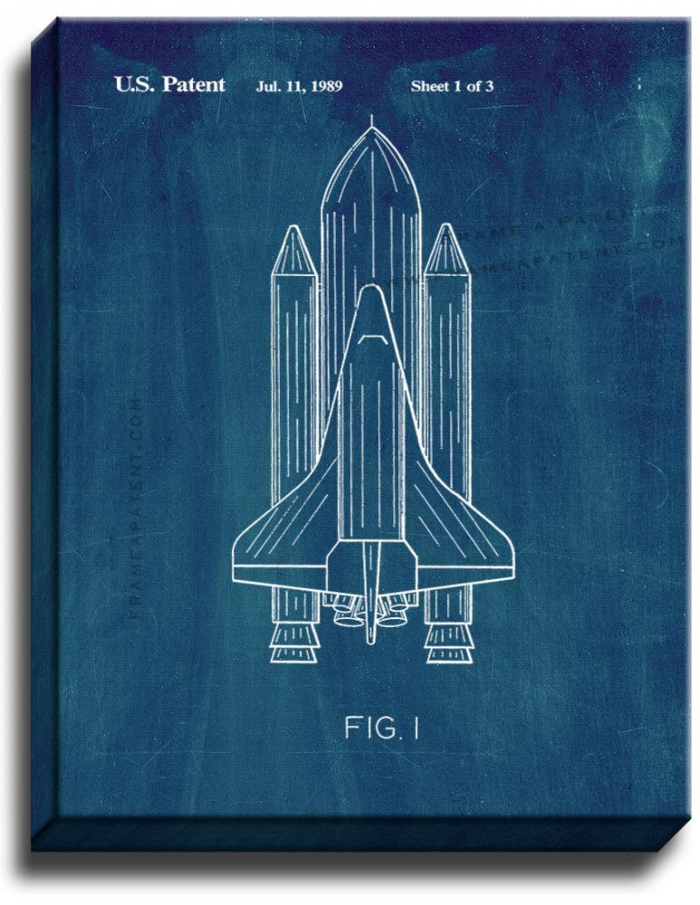 Primary image for Space Shuttle Patent Print Midnight Blue on Canvas
