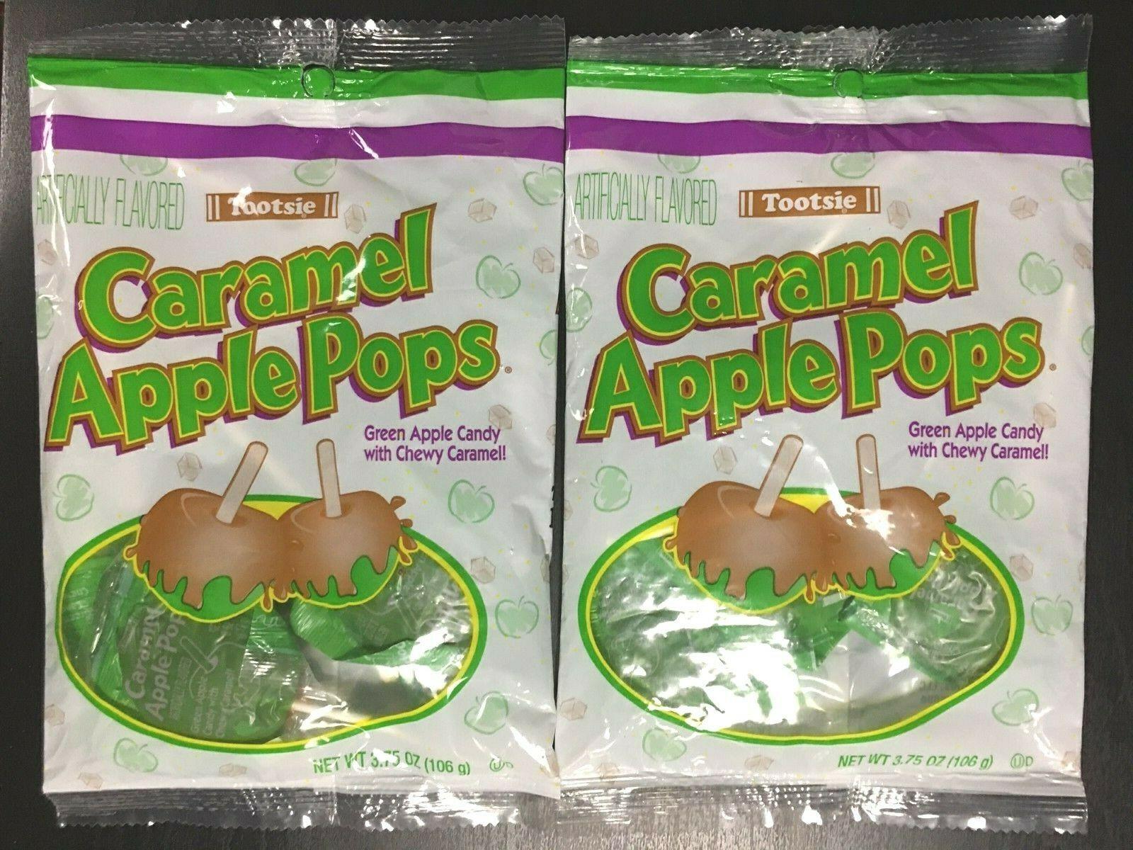 TWO SEALED Tootsie Caramel Green Apple Pops 3.75 fl oz/ 106g bags 12 Lollipops