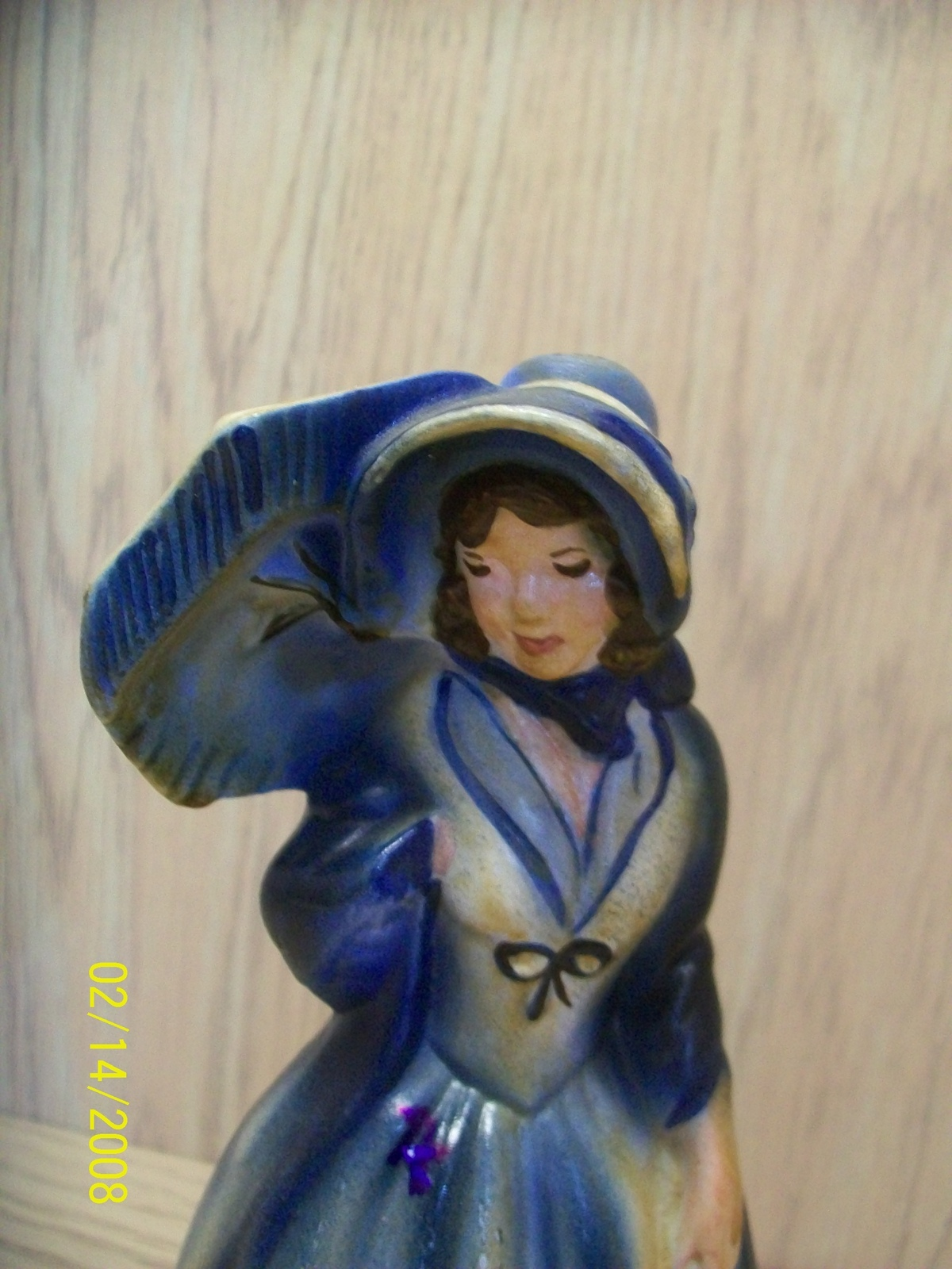 Figurine Lady in Blue with Purse and Umbrella