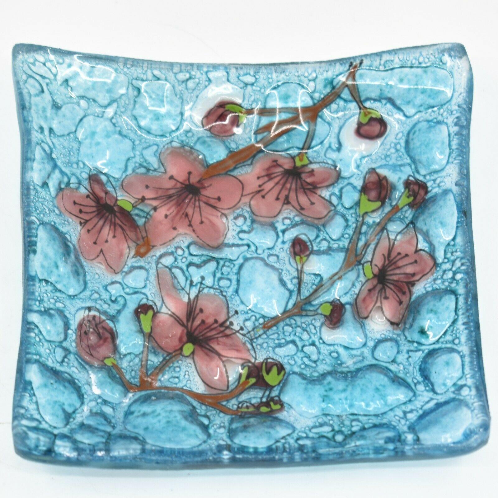 Fused Art Glass Cherry Blossom Flower Design Square Soap Dish Handmade Ecuador