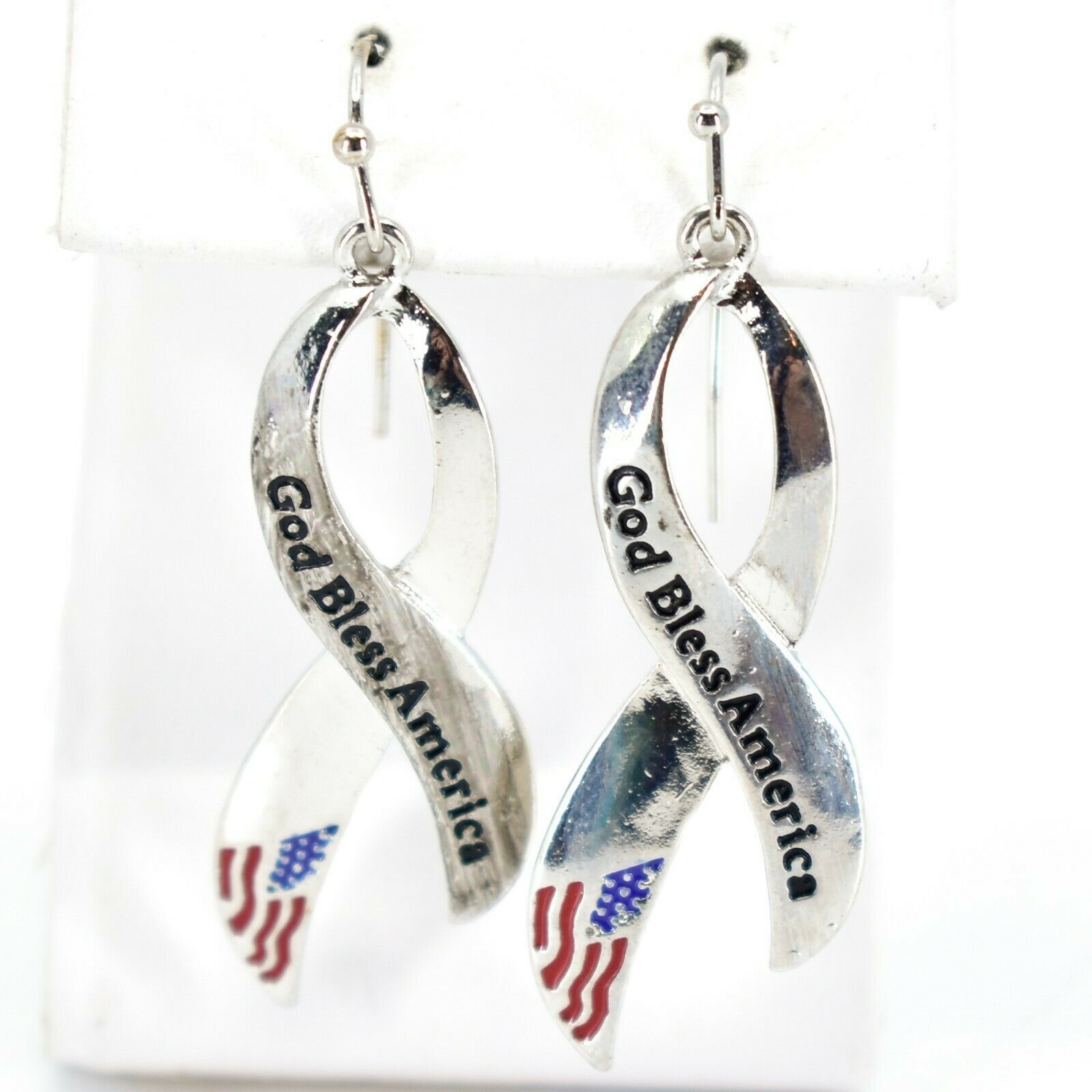 Fresh Crystal Collection Silver Tone Ribbon God Bless America Patriotic Earrings