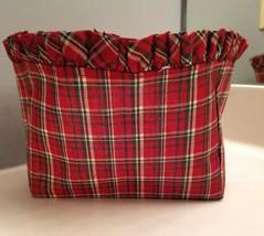 LONGABERGER Cloth Basket Liner Insert Red Green Tartan Plaid NEW 7.5 x 3... - $4.90