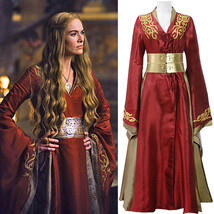 Queen Cersei Lannister Red Luxury Dress Game Of Thrones Cosplay Costume - $127.67