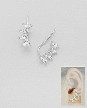 Marquis & Round 5A CZ Ear Pin Climber Sterling Silver Earrings-Vermeil - $39.59