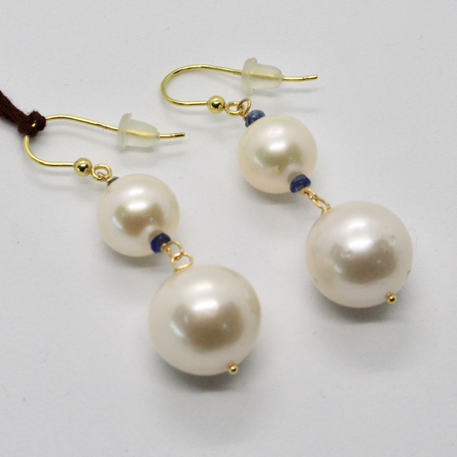 SOLID 18K YELLOW GOLD EARRINGS WITH WHITE FW PEARL AND SAPPHIRE MADE IN ITALY