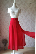Double Slit Skirt Long RED SKIRT Lady Red High Waisted Party Skirt with Belt NWT image 4