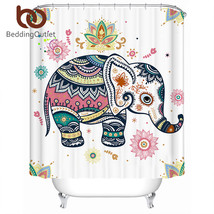 BeddingOutlet Rainbow Elephant Shower Curtain Indian Pastel Waterproof C... - $32.90