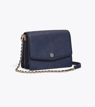 Tory Burch ROBINSON CONVERTIBLE SHOULDER BAG Navy Blue Authentic - $275.00