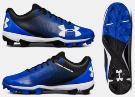 new UNDER ARMOUR men's LEADOFF RM Baseball Cleats sz 7.5 or 8.5 black blue shoes - $31.90