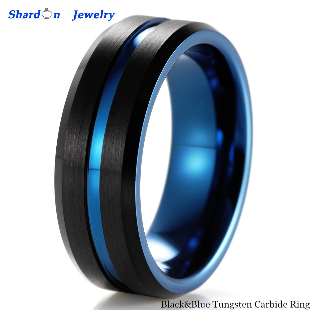 Primary image for 8mm Black&Blue Two Tone Tungsten Carbide Ring Men's Wedding Annessories Bands