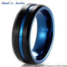 8mm Black&Blue Two Tone Tungsten Carbide Ring Men's Wedding Annessories Bands - $24.80