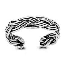 White Gold Plated 925 Sterling Silver Women's Braided Style Adjustable T... - $9.99