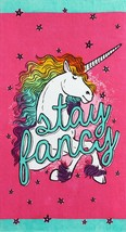 Stay Fancy Unicorn Beach towel measures 34 x 64 inches - $16.78