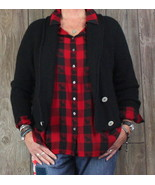 Peruvian Connection Cardigan Sweater M size Black Alpaca Womens Career C... - $62.87