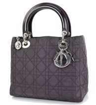 Authentic CHRISTIAN DIOR Purple Quilted Nylon Lady Dior Hand Bag Purse #33025 - $499.00