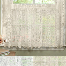 Hopewell Heavy Floral Lace Kitchen Window Curtain 24 x 58 Tier - $11.99