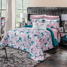 Pink and Green Reversible Floral Comforter Full/Queen Size 4PCS Soft War... - $148.50