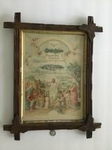 ANTIQUE 1911 GERMAN BOYS BAPTISM CERTIFICATE LITHO CARVED BLACK FOREST F... - $74.24