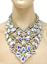 Luxurious Statement Chunky Bib Necklace Earrings Aurora Borealis Crystals Bridal - $89.30