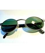 Vintage Fossil Sunwear Hawk Silver Black Metal Oval Sunglasses 50-20-135 - $35.63
