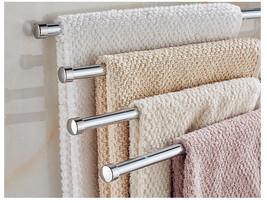 Towel Bar Rack Holder Wall Hanger Swivel Bathroom 4 Swing Arm Stainless ... - $23.77