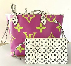 Louis Vuitton Giant Lilac  NEVERFULL Bag w Pouch M44588 Lilac New 20yrs ... - $2,965.05