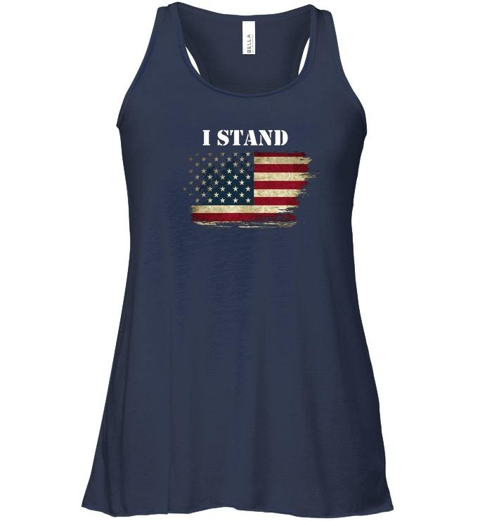 I Stand and Dont Kneel For Anthem USA Flag Flowy Racerback Tank image 2