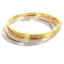 NTW Coach Mixed Metal Bangle Bracelet Set ROSE GOLD/GOLD/SILVER F99545 $98 - $59.39