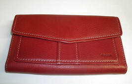 Fossil Red Leather Trifold Checkbook Wallet ID window Credit Card Organizer - $50.00