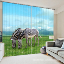 3D Zebra View 0260 Blockout Photo Curtain Print Curtains Drapes Fabric W... - $145.49+