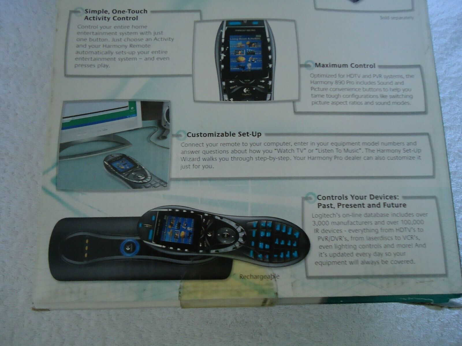 Logitech Harmony 890 PRO LCD Universal Remote Control Very Good Pre-Owned Cond.