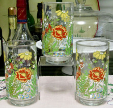 """Libbey Spring Floral Butterfly 5 1/8"""" Tumblers Set Of Three - $8.86"""