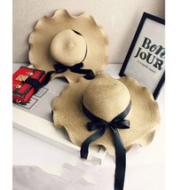 1x Women Bowknot Straw Hat Stripe Floppy Foldable Roll up Beach Cap Sun ... - $12.70