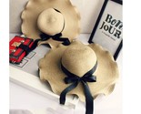 X women bowknot straw hat stripe floppy foldable roll up beach cap sun hat women s thumb155 crop