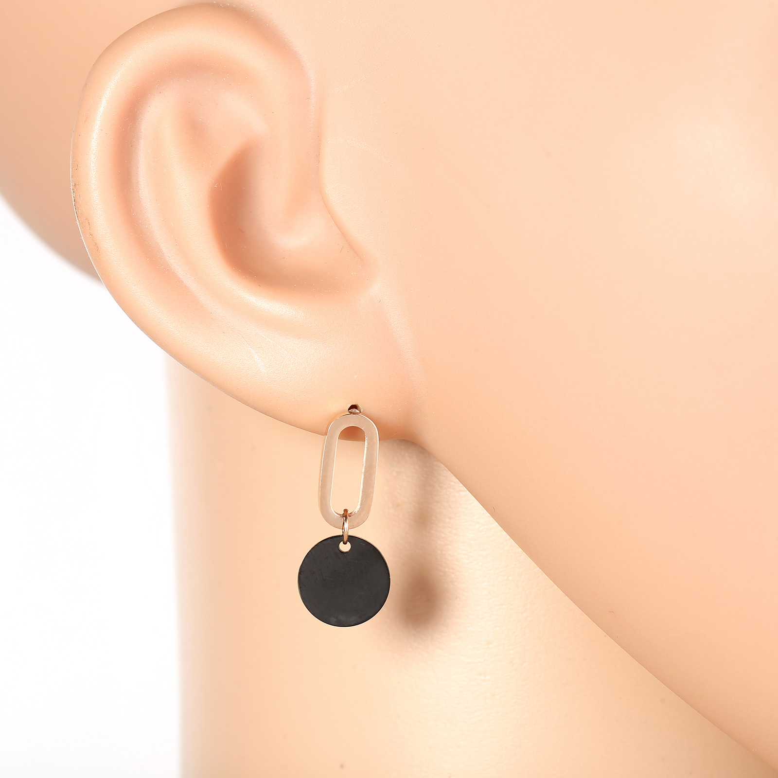 Primary image for Stylish Rose Gold Tone Designer Drop Earrings with Jet Black Gun-Metal Circle