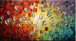 SoulSpaze Hand Painted Textured Palette Knife Red Flower Oil Painting Ab... - $292.04