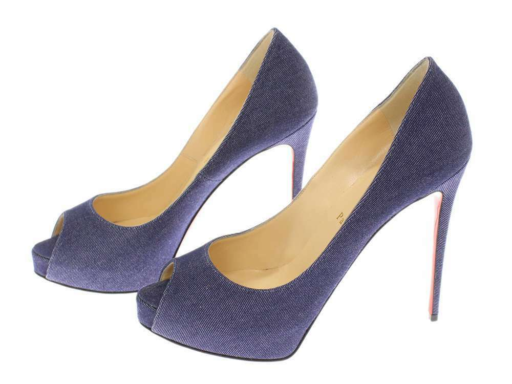 CHRISTIAN LOUBOUTIN New Very Prive Denim Blue Pumps Size 39 Authentic 5256143