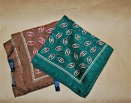 Two Vintage Polo Ralph Lauren Geometric Design Handkerchief Pocket Square - $25.00