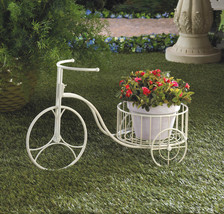 *15694B  White Metal Country Tricycle Planter - $25.35