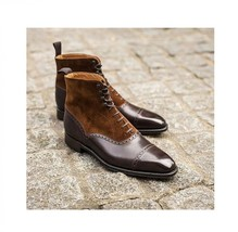 Handmade Men's Brown Leather Suede High Ankle Lace Up Dress/Formal Boots image 4