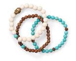 Wood and Blue Magnesite Buddha Stretch Bracelet Set - Wood Bead Fashion Stretch  - $66.60