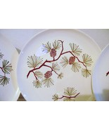 Five Ovenproof Dinnerware Hand Decorated Underglaze Pine Cone Dinner Plates - $20.00