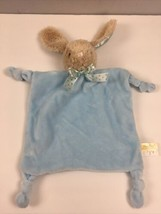 Dan Dee Blue Bunny Lovey Security Blanket Rabbit Plush Rattle Knotted Da... - $29.70