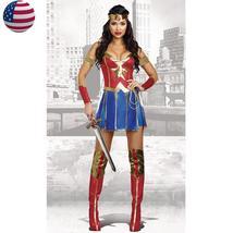 Adult Superwoman Superhero Wonder Woman Costume Halloween Party Fancy Dress