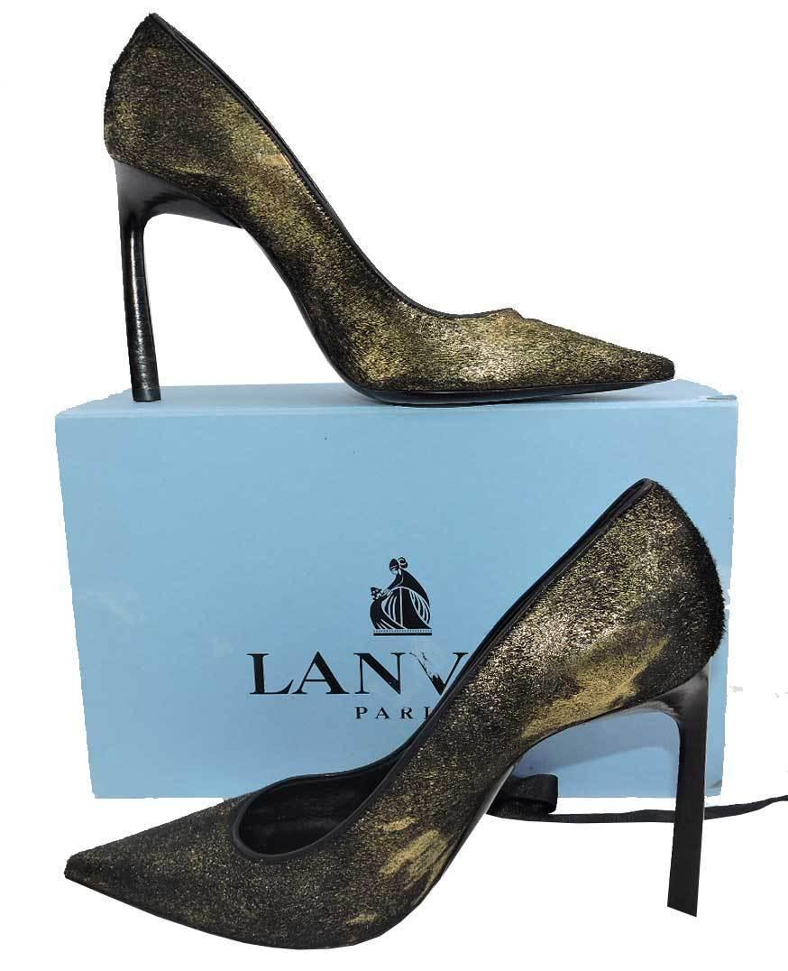 $980 Lanvin Classic Gold Metallic Brushed Calf Hair Pumps Heels Shoes 39.5