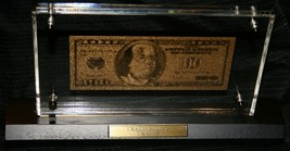 2008 GOLD LAND $100 24k gold Display plaque & Box & COA  - $163.63