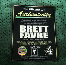 BRETT FAVRE / HALL OF FAME / AUTOGRAPHED PACKERS THROWBACK JERSEY / FAVRE HOLO image 8