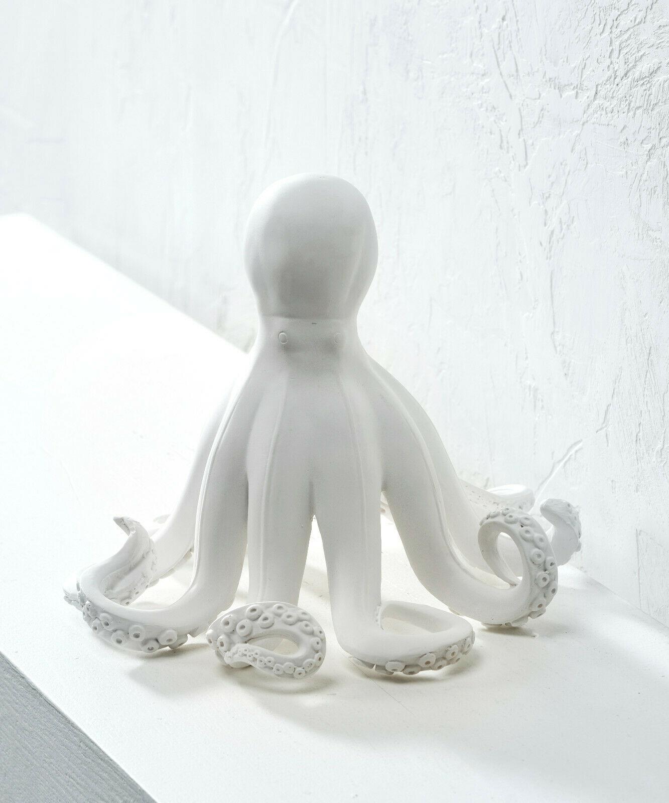 "8.2"" high White Octopus Nautical Figurine Polystone"